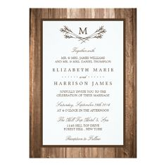 Shop Country Rustic Monogram Branch & Wood Wedding Menu created by WeddingStore. Personalize it with photos & text or purchase as is! Brown Wedding Invitations, Botanical Wedding Invitations, Rehearsal Dinner Invitations, Wedding Invitation Cards, Wedding Cards, Wedding Rehearsal, Wedding Menu, Party Invitations, Wedding Labels