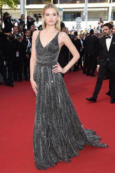 Lily Donaldson en robe Saint Laurent par Hedi Slimane | Cannes 2015: Red carpet, day 6