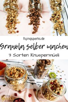 Granola einfach selber machen – 3 Sorten Knuspermüsli – flying sparks Are you more team muesli and oatmeal? If I had to choose for the rest of my life now, I would actually join the muesli front. Granola Muesli, Keto Granola, Quick Oat Recipes, Oats Recipes, Oats And Honey, Chocolate Granola, Vegan Breakfast Recipes, Food To Make, Oatmeal