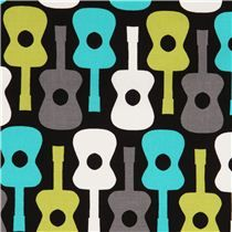 black guitar fabric by Michael Miller from the USA