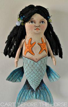 Mermaid Original Hand Painted Folk Art Doll by CartBeforeTheHorse, $120.00
