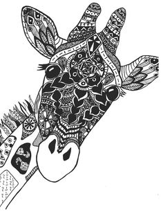 Zentangle Giraffe Print by StephSchaeferArt on Etsy