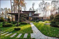 Реализованный проект коттеджа в стиле Райта   33BY Architecture - Архитектурное бюро Ивана Юнакова