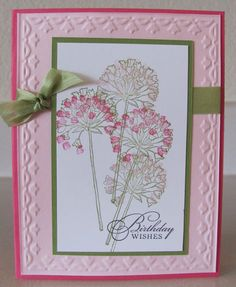 Birthday Wishes Framed Tulip Flower Handmade Card Kit with Some Stampin Up | eBay