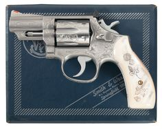 Custom Engraved Smith & Wesson Double Action Revolvers with Pearl Grips