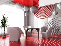aménagement de salon ultramoderne en blanc et rouge