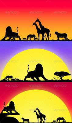 Buy Safari Life by on GraphicRiver. -Vector Background made in Illustrator (AI) -Fully editable and nicely layered -Color is changeable also and size is . African Animals, African Safari, African Art, Animal Silhouette, Tree Silhouette, Safari Theme, Jungle Theme, Zebras, Silhouettes