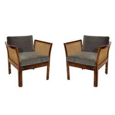 Pair of Rosewood and Cane Lounge Chairs by Illum Wikkelso