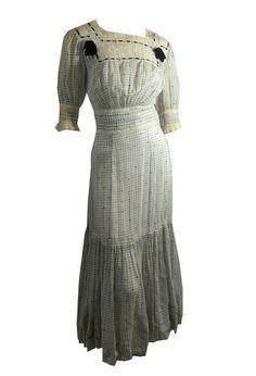 Feminine Lace and Velvet Ribbon Trimmed Dress circa Early 1900s - Dorothea's Closet Vintage