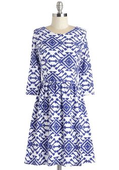 Meant to Beam Dress. Show off your dazzling smile and stunning style in this blue and white frock!  #modcloth