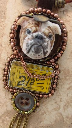 Sweet Bull Dog Necklace by HeidiKummliDesigns on Etsy