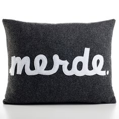 Merde 14x18 Charcoal cushion, handmade from eco-friendly felt