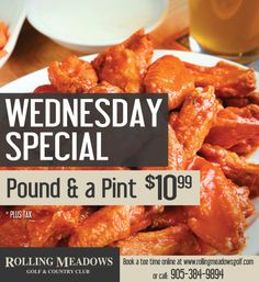 The Meadows Bar and Grill - Rolling Meadows Golf & Country Club Golf Specials, Wednesday Specials, Rolling Meadows, Golf Videos, Golf Outfit, Chicken Wings, Grilling, Club, Bar