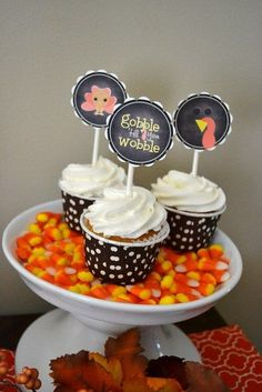 Yummy cupcakes at a Thanksgiving party.  See more party ideas at CatchMyParty.com.  #thanksgivingpartyideas