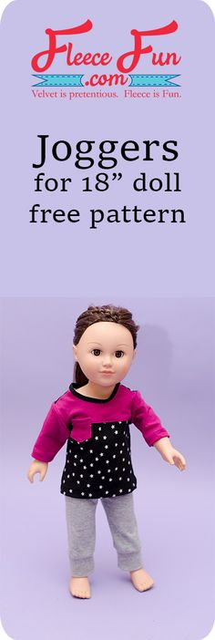 """Knit Joggers Pants for 18"""" Doll Free Pattern tutorial. Great sewing project for an American Girl Doll and great handmade gift ideas for girls."""