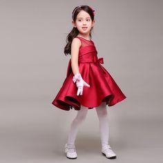 Rojo oscuro del Tafetán Niña Vestido Con Arco de Cuello Redondo Corto Kids Formal Vestido Para Las Bodas de Tamaño Personalizado