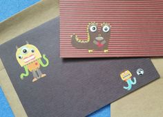 Two Cute Monster Blank Greeting Cards  recycled kraft paper by plarnstar