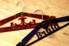 Personalised wedding hangers by Liqerish: http://liqerish.co.za/portfolio-items/wedding-personalised-clothes-hangers/