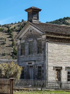 Ghost town hunting in Montana: Masonic Lodge and Schoolhouse in Bannack Ghost Town near Dillon, Montana.