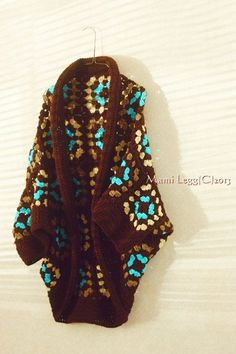 Crochet Hippie,Granny Square Jacket/Sweater with Brown color.