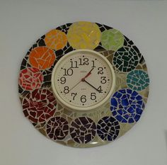 Mosaic Color Wheel Clock