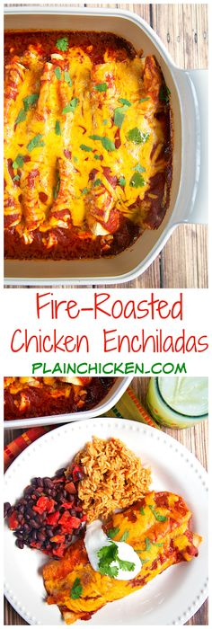 Fire-Roasted Chicken Enchiladas - chicken, cheese and corn rolled up in tortillas and topped with a quick homemade enchilada sauce - OMG! SO good! My new go-to enchilada sauce recipe! You will never, ever buy the canned stuff again! Recipe from the new Express Lane Cooking Cookbook.