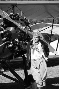 Black and White- Biplane and Pilot