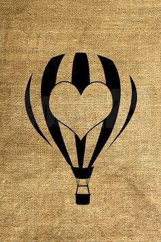 INSTANT DOWNLOAD Hot Air Balloon with a Heart by room29 on Etsy, $3.00