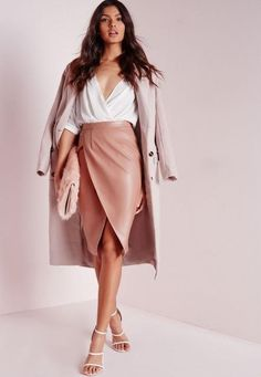 Autumn Winter Women High Waist Soft PU Leather Skirt Pink Brown Sexy Hip Pencil Skirts Christmas Party