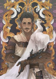 The Magician by Emorenji - Dorian would be all about having a peacock. [[Because he basically is one. I wouldn't be surprised if we walked into the library and found him literally preening.]]
