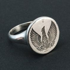 Phoenix silver ring engraved signet ring