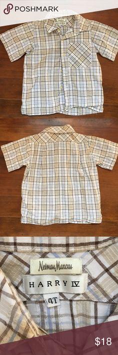 Boys Neiman Marcus Shirt like New 4T Worn once like New short sleeve Plaid shirt blue and brown Neiman Marcus Shirts & Tops