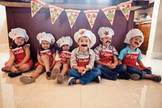 what a fun idea for a birthday:  everyone make their own pizza. pin the pepperoni on the pizza, pizza slice garland, chef hats and aprons to take home.
