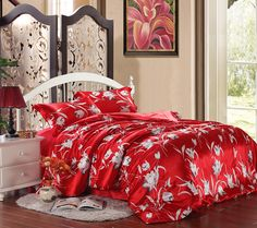 Chinese style yarn Tribute silk red Lily floral summer wedding bedding/quilt/bedspread Express shipping off! Flat Sheets, Bed Sheets, Red Bedding Sets, Wedding Bed, Pillow Shams, Pillows, Red Lily, Silk Bedding, Quilted Bedspreads