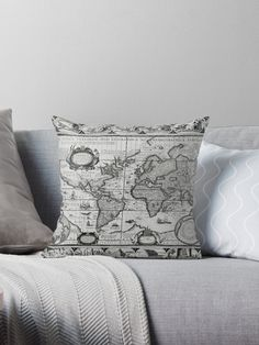 'Antique Maps of the World The Americas Throw Pillow by ModernFaces