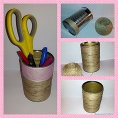 Upcycling a tin can to a beautiful pencil holder