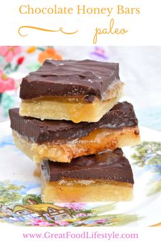 Paleo Chocolate Honey Bars.  Healthy decadence!  #paleocookies