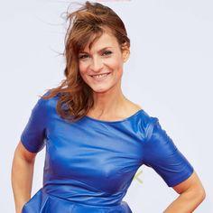Celebrities In Leather: Marlene Lufen looks hot in a blue leather dress