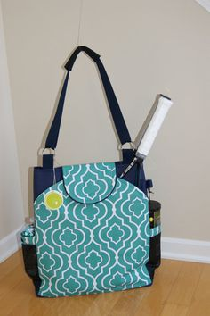 Large Tennis Bag with rounded pockets by TranerTotes 26a037b9c77