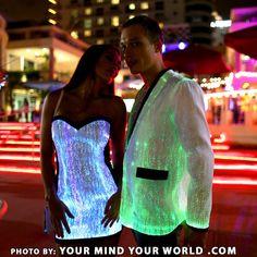 Smoking Jacket idea for Tony. GLOWING JACKET - Glow Rave Festival Fiber Optic…