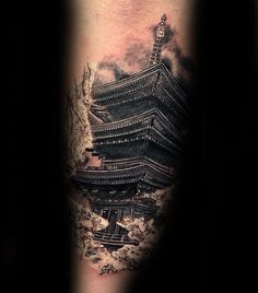Unique Japanese Temple Outer Forearm Tattoo Ideas For Men Life Tattoos, Hand Tattoos, Sleeve Tattoos, Tattoos For Guys, Cool Tattoos, Japanese Temple Tattoo, Bridge Tattoo, Traditional Japanese Tattoos, Japanese Style