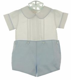 New Sarah Louise Blue And White Button On Shorts Set
