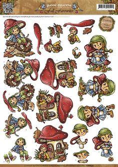 Knutselkraam.nl   3D A4 Knipvel Yvonne Creations - Fall Favourites - Sweet Gnomes CD10557