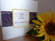 Purple and yellow wedding invitations