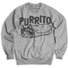 Purrito Unisex Crew Neck Sweatshirt ($40) found on Polyvore featuring women's fashion, tops, hoodies, sweatshirts, patterned sweatshirts, crewneck sweatshirt, pattern tops, print sweatshirt and unisex tops