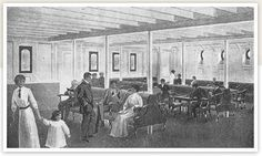Although Titanic's band never performed in Third Class, it was believed that passengers had proficiency enough to provide their own entertainment. So a piano was installed in the Third Class General Room. This was the non-smoking public meeting place, located on the Starboard side of the ship (the Smoking Lounge was one room over, to Port). The walls were white, the floor was of red-and-white patterned tiles. There were potted plants here and there, travel posters on the walls,