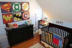 Love the super hero art work. Would be cute for a toddler's room.