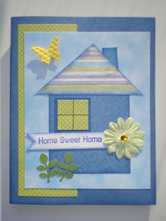 A quick fun New home card to make from leftover scraps of paper. Welcome Home Cards, New Home Cards, 3d Cards, Paper Cards, Card Making Inspiration, Making Ideas, Wedding Shower Cards, Housewarming Card, Happy New Home