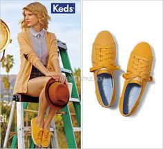 Keds ad | Fall 2014 Keds 'Rally Sneaker in Yellow Mustard' - $50.00 To complement her yellow cardigan and to bring out the plaid print of her shorts she wore these 'Rally' Keds in mustard yellow with...