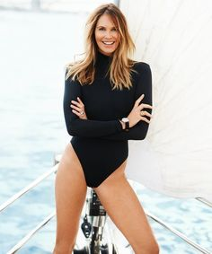 The Australian-born, Miami-based supermodel-turned-entrepreneur has some basic rules for staying fit and finding balance, but she makes sure to change things up. Elle Macpherson, Fall Fashion Outfits, Womens Fashion, Instyle Magazine, Australian Models, Nautical Fashion, Swimsuits, Bikinis, Swimwear